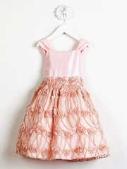 Petal Pink Satin w/ Rose Vine Mesh Vintage Dress