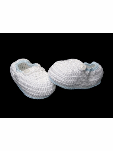 Petit Ami Boys White Christening Crochet Loafers