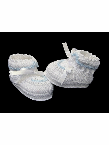 Petit Ami Boys White Crochet Booties w/ Blue Trim