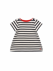 Petit Bateau Baby Girl Navy Striped Short Sleeve Dress