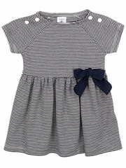Petit Bateau Baby Girl Short Sleeve Striped Dress w/ Bow