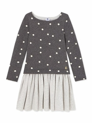 Petit Bateau Girls Gray Long Sleeve Dress w/ Dot Print Top