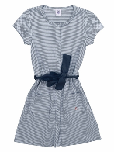 Petit Bateau Girls Short Sleeve Navy Striped Dress w/ Sash