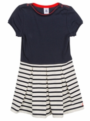 Petit Bateau Navy Short Sleeve Dress w/ Striped Skirt