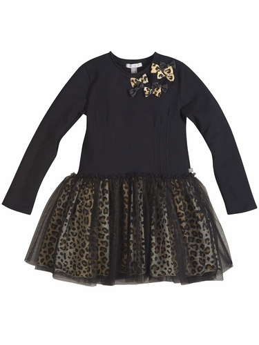 Petit Lem Black & Bow Cheetah Dress