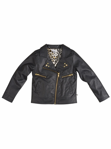 Petit Lem Black Faux Leather Jacket w/ Gold Detailing