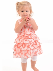 Petit Lem Coral Ruffle Dot Dress