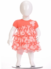 Petit Lem Coral Ruffle Dot Dress w/ Panty