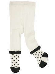 "Petit Lem ""French Ballet"" Off-White & Black Dot Tights"