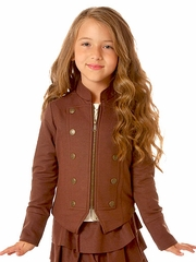 "Petit Lem ""From Russia With Love"" Chocolate Military Blazer"