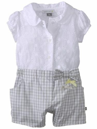 Petit Lem My First Love White Shorts Romper