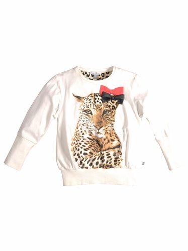 Petit Lem White Long Sleeve Leopard Top  w/ Bows