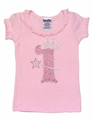 Pink #1 Birthday Crown Wand Ruffle Tee