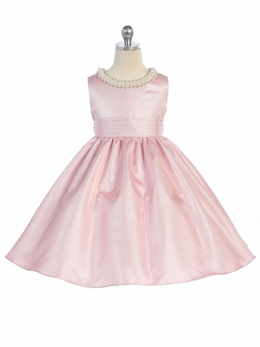 Pink Beaded Neckline Fit & Flare Dress