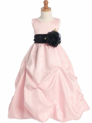 Pink Blossom Shantung Organza Dress w/Detachable Sash & Flower