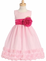 Pink Blossom Tulle Dress w/ Floral Ribbon Edge & Detachable Sash & Flower