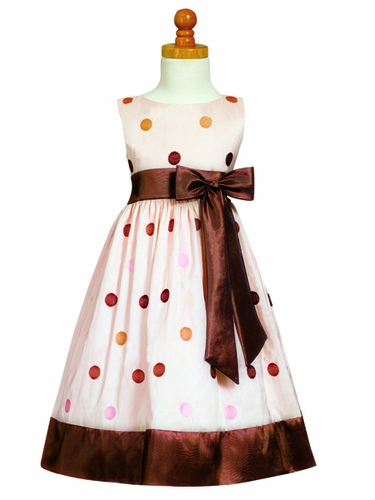 Pink/Brown Embroidered Polka-Dot Taffeta Dress w/Bow