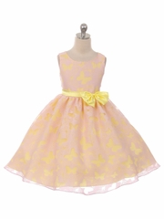 Pink Butterfly Organza 2 Tone Dress