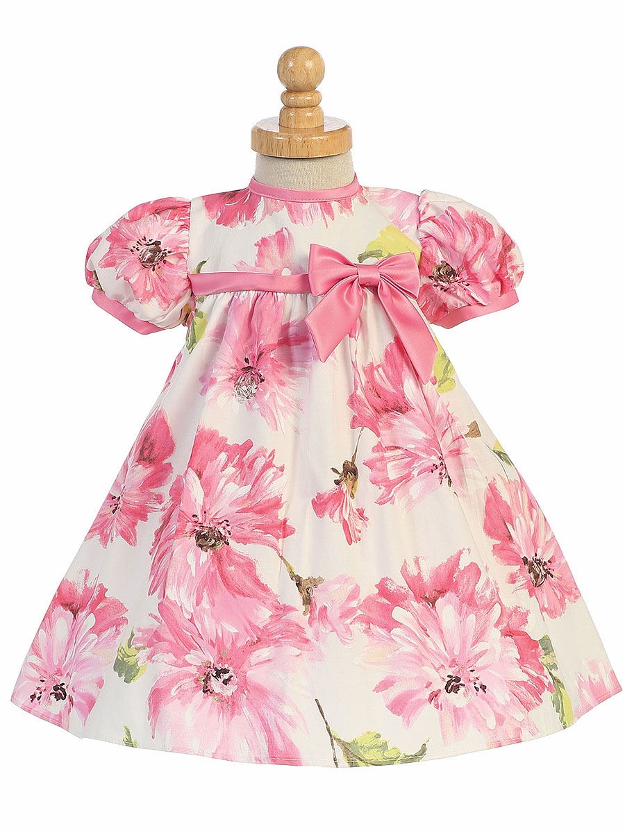 Pink Cotton Floral Print Baby Dress W Cap Sleeve