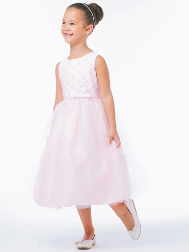 Pink Cross Hatch Satin w/ Tulle Dress