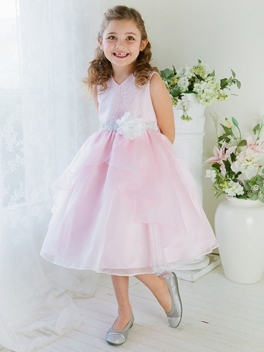 Pink Double Layered Organza Dress w/ Embroidered Bodice