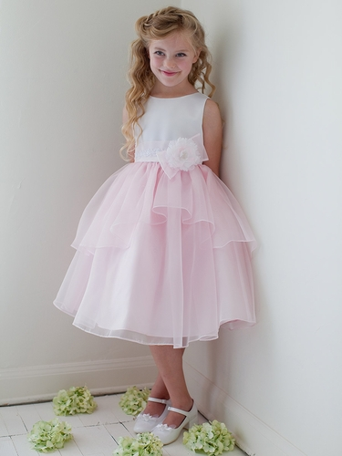 Pink Double Layered Organza Dress w/ Satin Bodice