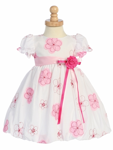 Pink Embroidered Cotton Baby Dress w/Taffeta Waistband & Flower