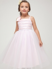Pink Embroidered Satin Layered Top w/Tulle Skirt Dress