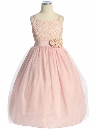 Pink Embroidered Taffeta Tulle Dress