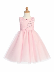 Pink Embroidered Tulle Bodice w/Tulle Skirt