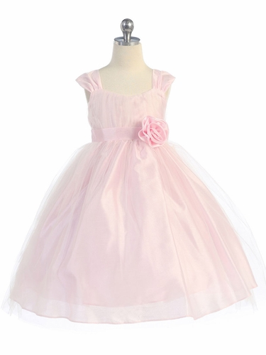 Pink Empire Waist Tulle Dress w/ Poly Silk Sleeve & Sash