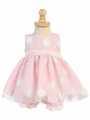 Pink Glittered Polka Dot Baby Dress w/ Bloomers