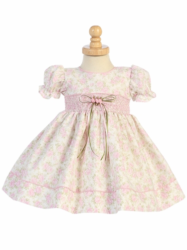 Pink Floral Baby Dress w/ Sleeve