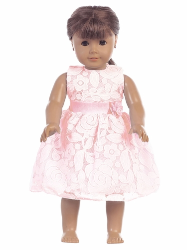 """Pink Floral Embossed Lace 18"""" Doll Dress"""