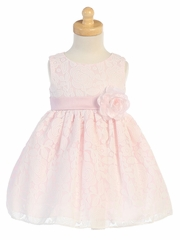 Pink Floral Embossed Tulle Lace Dress