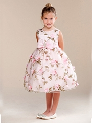 Pink Floral Print Bow Brooch Flower Girl Dress