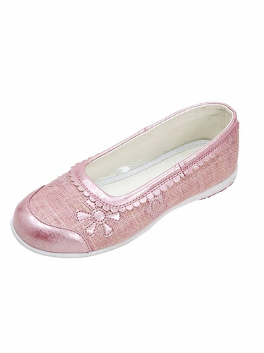 Pink Embroidered Ballet Flat Shoes