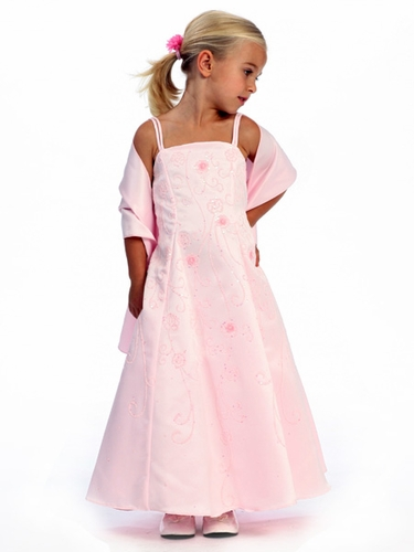 Pink Flower Girl Dress - Matte Satin A-Line