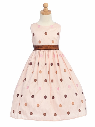 Pink Flower Girl Dress - Polka-Dot Embroidered Taffeta