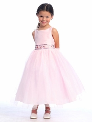 Pink Flower Girl Dress - Sleeveless Bodice w/ Adorned Waistline