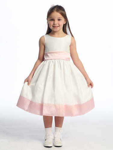 Pink Flower Girl Dress - Sleeveless Shantung w/ Sash