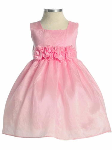 Pink Flower Girl Dress - Taffeta Dress w/ Flower Cummerbund