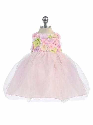 Pink Flower Patch Tulle Dress