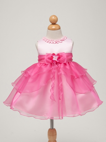 Pink/Fuchsia Satin Bodice w/Layered Organza Bottom Baby Dress