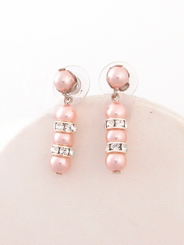 Pink Glass Pearl Earrings w/ Swarovski Rondells