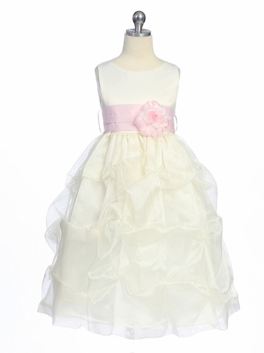 Pink/Ivory Flower Girl Dress - Matte Satin Bodice w/ Gathers