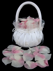 Pink/Ivory Silk Rose Petals - Dakota