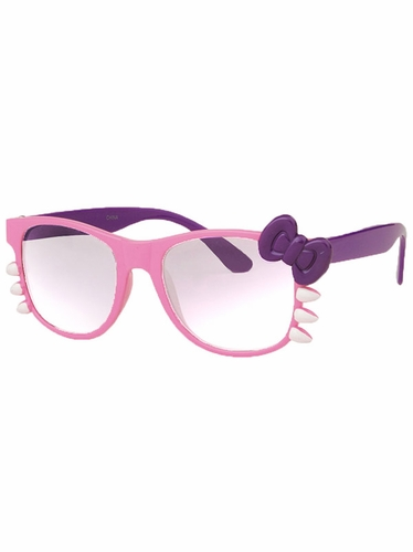 Pink Junior Clear Polycarbonate Lens Sunglasses w/Bow