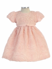 Pink Large Flower Embroidered Mesh Dress w/ Dainty Ribbon