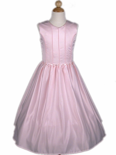 Pink Matte Satin Dress with Corset like Bodice